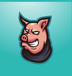 Pig wearing a scarf for gaming vector