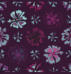 purple graphic large scale flower blooms pattern vector image