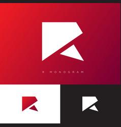r monogram logo red origami logo geomertic vector image