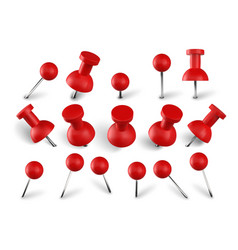 Realistic red push pins attach buttons on needles vector