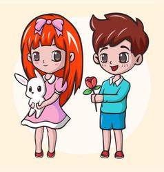 Romantic boy giving a flower to his girl cute gir vector