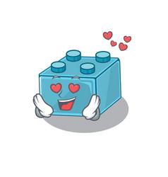Romantic falling in love lego brick toys cartoon vector