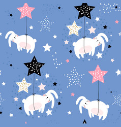 seamless childish pattern with cute sleeping vector image