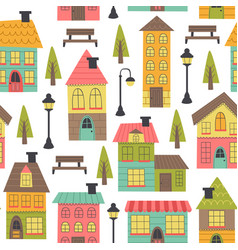 seamless pattern with houses on white background vector image