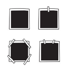 set empty vintage photo frame with adhesive vector image