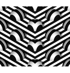 Striped 3D Hemisphere Hills Seamless Pattern vector image