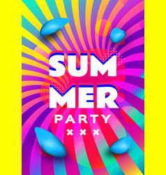 summer party poster template rainbow background vector image