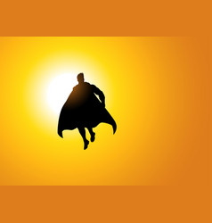 Superhero flying against the sun vector