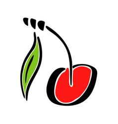sweet cherry juicy fruit leaf color vector image