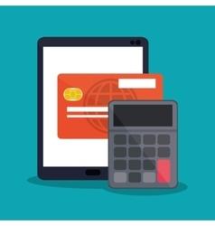 Tablet of payment online design vector