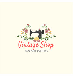 Tailor sewing vintage fashion floral retro logo vector