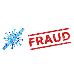 Textured fraud stamp imitation and no contagious vector