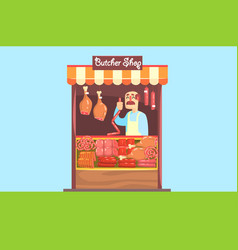 the farmer sells at the farm market meat of own vector image