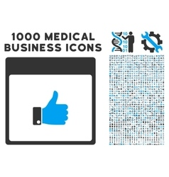 Thumb Up Hand Calendar Page Icon With 1000 Medical vector image