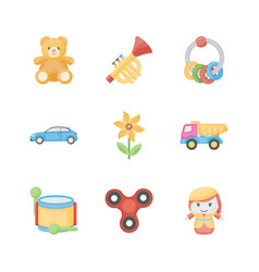 Toys for kids flat icons vector