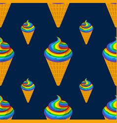 unicorn ice cream seamless pattern rainbow vector image