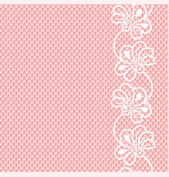 vertical flower lace border on pink background vector image