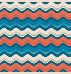 vintage color wave seamless pattern vector image