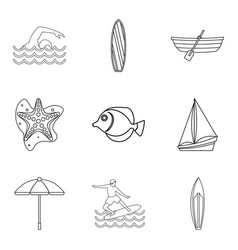 water lifestyle icons set outline style vector image