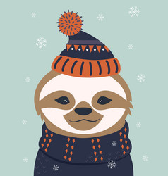 winter card with sloth vector image