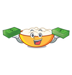 With money bag cottage cheese mascot cartoon vector