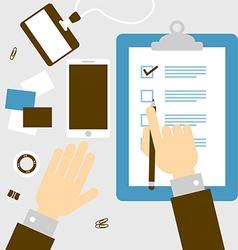 Checklist hand vector image vector image