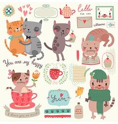 Cute cat set vector image