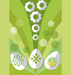 Easter spring decoration with paper cut egg and vector