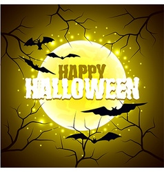 Happy Halloween sign on moon background vector image