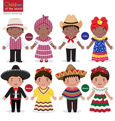 Kids in different traditional costumes Jamaica vector image vector image