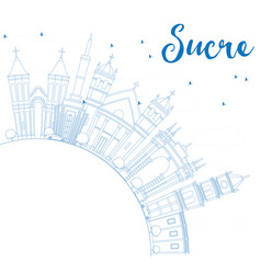 outline sucre skyline with blue buildings and vector image vector image