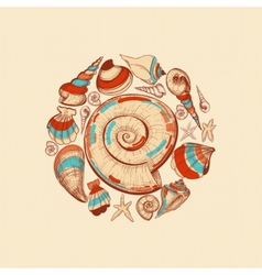 Shells round decoration vector image vector image
