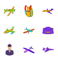air force icons set cartoon style vector image vector image