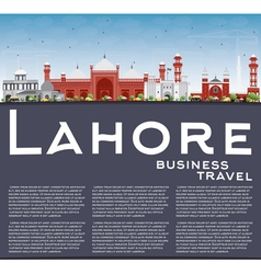 Lahore skyline with color landmarks vector
