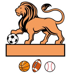 lion standing with various of sport ball vector image