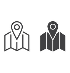 Pinpoint on map line and glyph icon vector