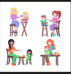 set of mothers and children happy mother day set vector image vector image