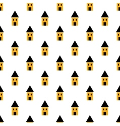 Simple yellow and black houses seamless pattern vector image vector image