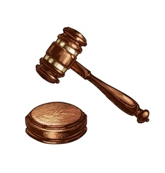 Wooden judges gavel isolated vector image vector image