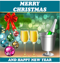 card for the holiday with a glass Christmas balls vector image