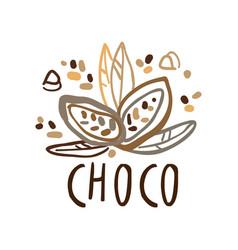 coffee shop hand drawn original logo with cocoa vector image