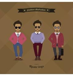 Hipster urban fashion trendy men boys colored vector image vector image