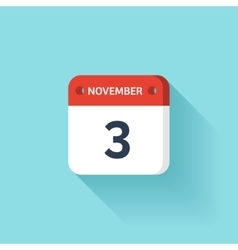November 3 Isometric Calendar Icon With Shadow vector image