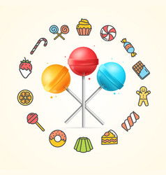 sweets and bakery candy concept vector image vector image
