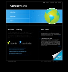 website template with globe vector image vector image