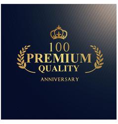 anniversary 100 premium quality luxurious logotype vector image