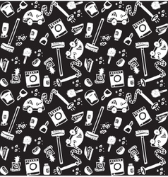 Cleaning objects icons black and white seamless vector image
