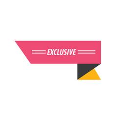 design ribbon exclusive pink yellow black vector image vector image