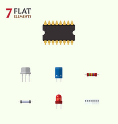 Flat icon electronics set of resist memory vector