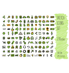 hand draw doodle business icon set collection of vector image vector image